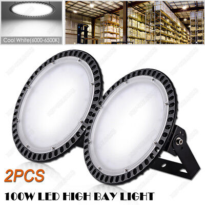 2X 100W Cool White LED High Bay Light Court Mall Workshop Warehouse Mining Plant