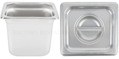 "4 PACK 1/6 Size Stainless Steel w/ LID Buffet Steam Prep Table Food Pan 6"" Deep"