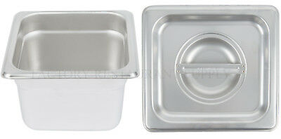 "4 PACK 1/6 Size Stainless Steel w/ LID Steam Prep Table Food Insert Pan 4"" Deep"