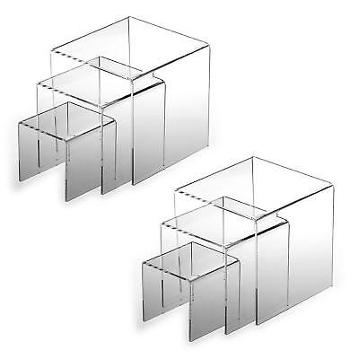 Table Top Display Risers Acrylic Shelves Stands Tier Retail Spice Jar Rack New