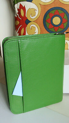 """Compact 1"""" Rings Green LEATHER FRANKLIN COVEY Planner/Binder Zip ~ CUTE & MINT ~"""