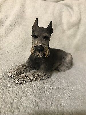 RARE VINTAGE 1989 Castagna Schnauzer Dog Laying down  FIGURINE Made in ITALY
