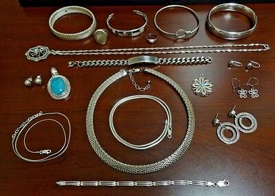 Mixed Lot of .999 & .925 Sterling Silver Jewelry.  NOT SCRAP