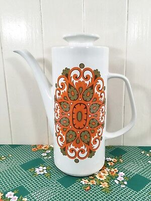 Vintage Retro 70s J&G Meakin Studio Madrid Coffee Pot Orange Brown Jessie Tait
