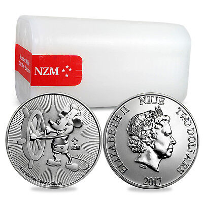 2017 Niue 1 oz Silver $2 Steamboat Willie BU - Lot of 25