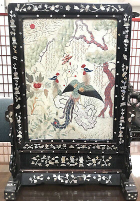 19Th C.century Chinese Carved Hardwood Embroidery Table Screen, Mother Of Pearl