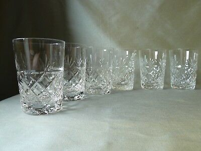 6 Royal Brierley Bruce Cut Lead Crystal Tumblers/Glasses,  h10,5cm