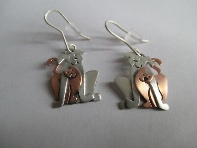 STERLING SILVER and COPPER Cat with Dog Earrings..Unique..New..Taxco