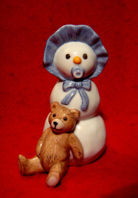 Royal Copenhagen *snowman Baby With Teddy Bear* Porcelain Figurine Denmark