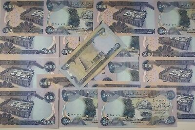 25,000 5 x 5000 Un-circulated Iraqi Dinar Bonus 250 Dinar note FREE