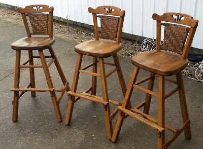 Old Hickory Wooden Bar Stools From Martinville In