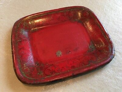 Fine 19th Century Antique Toleware Red and Black Metal Dish