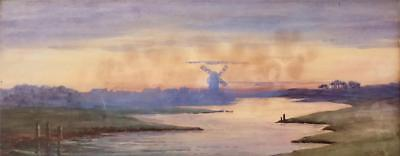 EARLY 20TH C WATERCOLOUR AN ESTUARY WITH WINDMILL SIGNED OLIVE CARR c1910/20