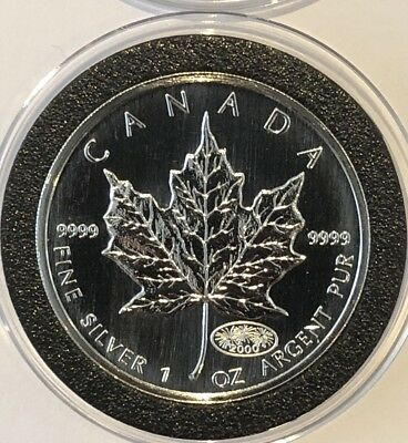 2000 Canadian Maple Leaf 1 Troy Oz .9999 Fine Silver Collectible Millennium Coin