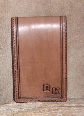 """US Made Medium Brown Leather Memo Pad 3"""" x 5"""", Cover Holder """"Free Initials"""" G&E"""