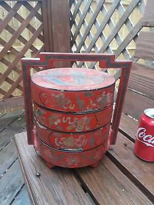 Antique Chinese Qing Red Lacquer Enameled Wedding Basket Stacking Boxes