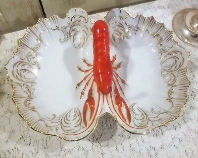 """J.S. Germany LOBSTER Handle Bowl Serving Dish Tray 13.5"""" Joseph Schachtel Signed"""