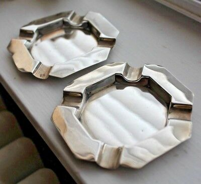 PAIR OF VINTAGE ART DECO SOLID SILVER ASHTRAYS CHESTER 1932 (87.7g)
