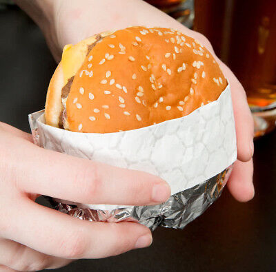 """2000 PACK 10 3/4"""" x 14"""" Insulated Foil Sandwich Wrap Sheets Take Out Burger Case"""