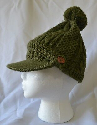 ceee55ccb WOMEN'S OLIVE GREEN Pom Pom Cable Knit Cubby Hat with Brim - NWT
