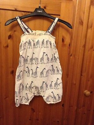 Lovely Girls Next Giraffe Summer Playsuit All In One Short Dungarees Age 3-4 Yea