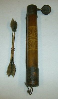 Vintage Hand Carved Bamboo Quiver With Blow Darts From Phillippines ??