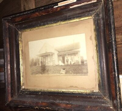 Antique Framed 11 X 14 Victorian Texas Home Photograph Homestead Attic Find