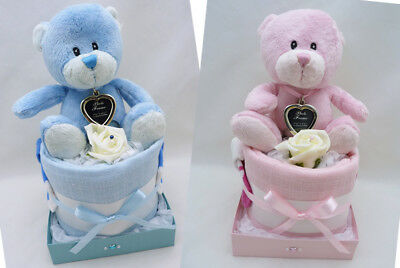 Prem small boy or girl Nappy Cake & heart photo key ring gift new baby shower