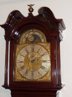 FLAME MAHOGANY BRASS MOON PHASE LONGCASE  GRANDFATHER CLOCK THOMAS CLARE c1780