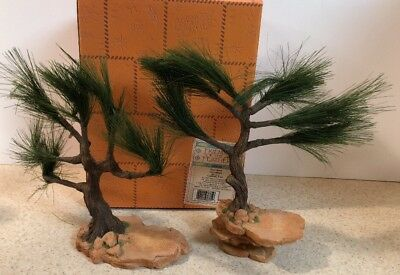 Rare Enesco Friends of the Feather INDIAN Tree Riser Rock Set Of 2 Display MIB