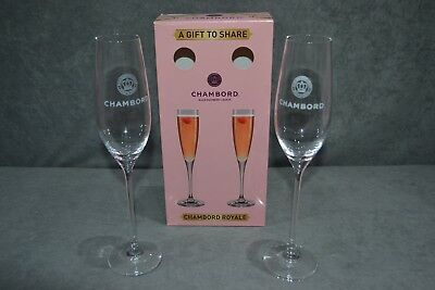 Pair Of Chambord Royale Black Raspberry Liqueur Champagne Flutes Glasses Glass 2