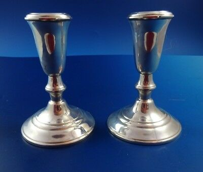 Pair of Vintage Sterling Silver Candlestick Holders by Crown
