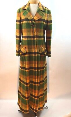 Vintage 1970 Maxi Coat Full Length Plaid Wool Fit And Flare Yellow Green Lined