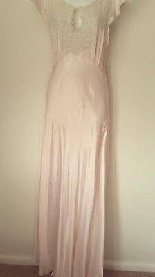 Vintage 1920s  Bias cut Liquid Satin/Handmade Lace Lounging Gown