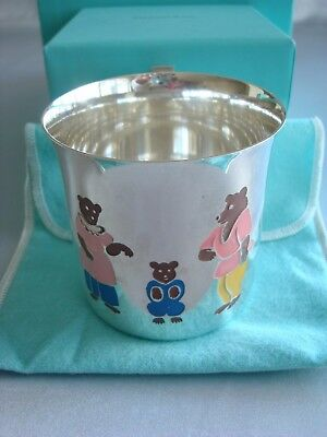 TIFFANY sterling silver enamel ~ BABY CHILD CUP 'THREE BEARS' ~ RARE & FABULOUS!