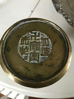 """Antique Chinese """"GU"""" Form Signed Heavy Brass of Bronze Vase"""