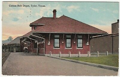 RARE Postcard - Cotton Belt Train Station Depot - Tyler TX - 1913 Texas Railroad