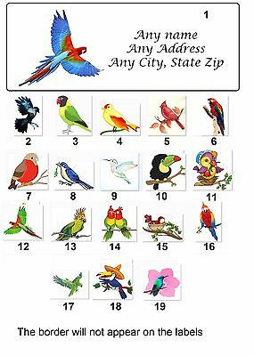 30 Personalized Return Address Labels Birds Buy 3 get 1 free (bir1)