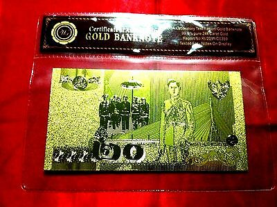 Thailand Banknote 24Kt Gold 2013 New 20 Thai Baht Bank Note Gold 3D Limited