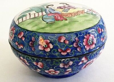 Antique Vintage 1920's Chinese Canton Enamel Bowl Teacher Student