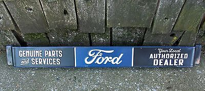 Ford Authorized Dealer Tin Metal Push Pull Door Bar Advertising Sign Gas Station