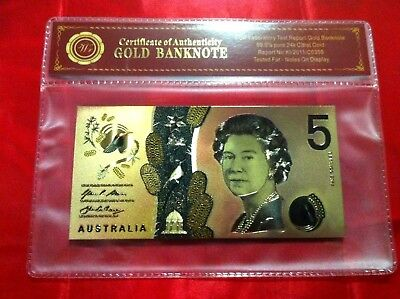 Australia $5 Coloured Gold 2016 Bank Note Polymer 24Kt Banknote + Free Coa