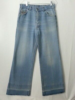 VTG Rare Levi's Jeans Bell Buttom Pants Eagle Orange Tab Button Fly Hippy 31-32