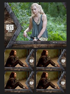 BETH+4x MAGGIE GREENE-HUNTER+HUNTED INTO THE HUNT-TOPPS WALKING DEAD DIGITAL