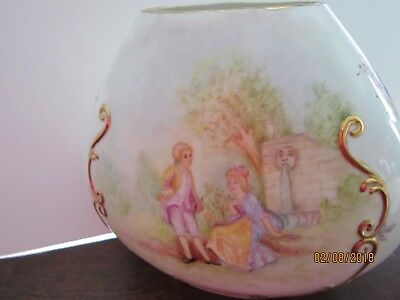 "Vintage ANTIQUE Victorian Scenes Ladies & Gents Large Vase 7x6"" signed Barbara A"