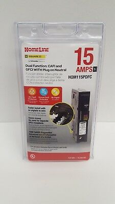 Square D Homeline Hom115Pdfc 15A Dual Function Plug In Breaker New In Package