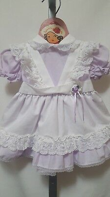 Vtg Martha's Miniatures We're Fussy Frilly Full Circle Pinafore Style Dress 12M