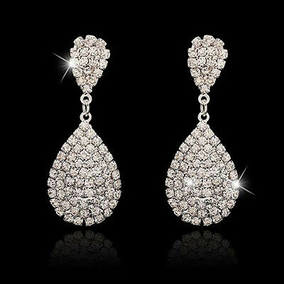 Women Bridal Wedding Party Silver Rhinestone Crystal Teardrop Diamante Dangle