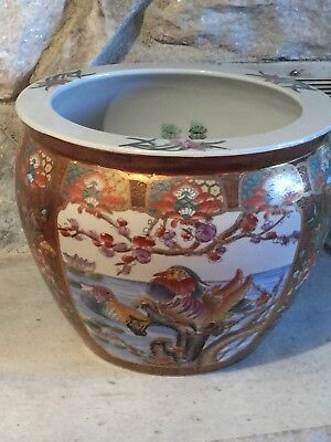 Large Hand Painted Ceramic Oriental Koi Fish Bowl Planter 100 00