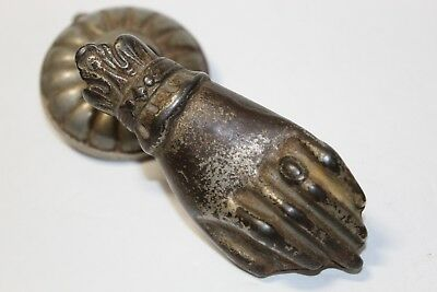 Victorian Hand Door Knocker Ring Apple Cast Iron Gorgeous Decor Piece Bow Estate